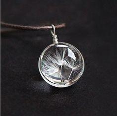 Venta caliente Bienes Dandelion Bola de Cristal de cristal Collar de Diente de león de La Joyería Tira Larga Cadena del Cuero Collares pendientes Para Las Mujeres