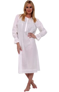 Del Rossa Women's Clara 100% Cotton Long Victorian Nightgown, Large White (A0530WHTLG)