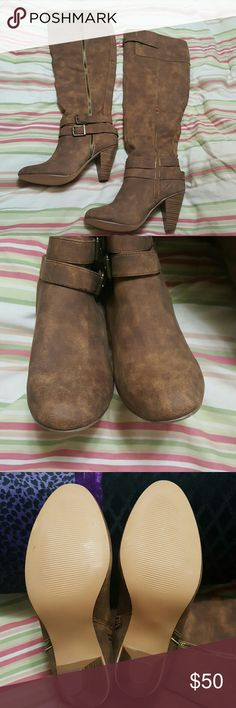 """Yvon boots!! Worn once! In impeccable condition! Heeled, over knee, multi shaded brown boots!  Very soft! Approximate measurements are heel 3.5"""", rise from heel bottom to top is 24"""" calf circumference 16"""", open behind knee for flexibility! Functional inside ankle zipper, decorative lateral zipper. Uber cute, just can't wear the heels! 8.5 or 39 euro. Will not come in original box! Retail $70!! Yvon Shoes Over the Knee Boots"""