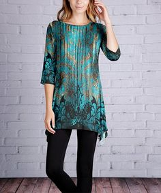 Love this Teal & Gold Arabesque Sidetail Tunic - Plus Too on #zulily! #zulilyfinds