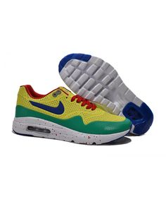 a79e78c9e11 Homme Nike Air Max 1 Ultra Moire Jaune Vert Rouge Chaussures