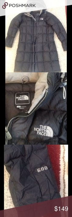 THE NORTH FACE 600 BLACK DOWN LONG PARKA COAT sz L THE NORTH FACE 600 down long parka coat.  Back color, hooded.  Excellent condition!  Great coat!  Will ship right away.  Check out my other designer items The North Face Jackets & Coats Trench Coats