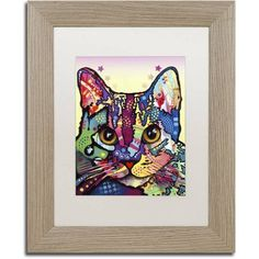 Trademark Fine Art Maya Cat Canvas Art by Dean Russo, White Matte, Birch Frame, Size: 11 x 14, Brown