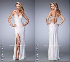 La Femme Prom style - 22335 long prom dress - white prom dress - formal dress - side slit dress - open back - sweetheart neckline - strapless - lace - rhinestone embellished