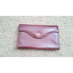 Vintage Dark Brown Genuine Leather Small Kisslock Envelope Wallet Pocketbook
