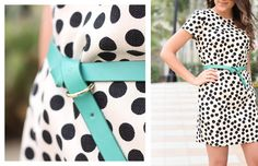 Love this look! Black and white patterned dress with a pop of colour from the aqua belt. So fun, perfect for summer.