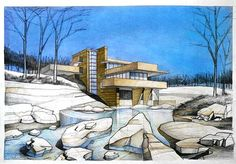 Frank Lloyd Wright's Falling Water. Wanted to stay away from the cliche waterfall and trees so decided to draw it in the winter time. Sky works really well for contrast. Pencil + Crayons + Pastels on 50x70 Standard Paper, 9 Hours Completion Time #architecture #architect #rendering