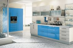 kitchen floor - love it!  Love the lower cabinet style and handles too.  Love the silver kickplate but would like some hidden storage there!