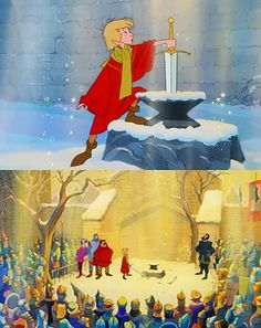"""""""A legend is sung of when England was young and knights were brave and bold. The good king had died and no one could decide who was rightful heir to the throne. It seemed that the land would be torn by war or saved by a miracle alone. And that miracle appeared in London town. The Sword in the Stone."""""""