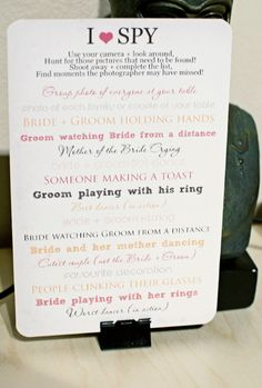 """for those disposable cameras on the guest table """"I Spy"""" for your reception. Leave these cards on the tables and have your guests try and capture special, fun or crazy moments! Bear Wedding, Diy Wedding, Wedding Bells, Wedding Ceremony, Rustic Wedding, Wedding Gifts, Wedding Favors, Wedding Stuff, Wedding Games For Guests"""