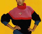 1980s VINTAGE KNITTING PATTERN - Colour Block Sweater/Jumper, with poloneck/turtleneck, boxy fit, chunky knit, Instant Download Pdf 0024