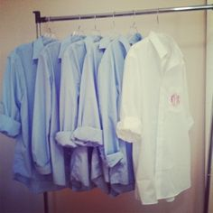 monogrammed men shirts for the bride and bridesmaids! walmart men's button-down with monogram- perfect for getting ready on the big day, looks great in pics, and makes an affordable and personalized gift!
