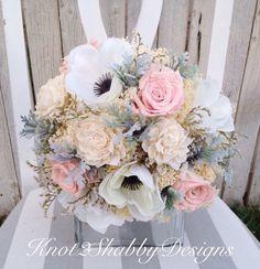 dusty blue and blush wedding bouquet