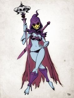 "Here's a female version of Skeletor from He-Man and the Masters of the Universe created by Mike Ballan called ""Miss Skeletor."""