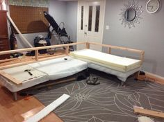 Pin By Rob Nieuwenhuizen On DIY Furniture Plan Projects To . Beige Leather Modern Sectional Sofa W Side Storage Pillows. Home and Family Twin Bed Couch, Rv Sofa Bed, Twin Beds, Diy Sofa, Modern Sectional, Sectional Sofa, Couches, Diy Corner Sofa, Build Your Own Sofa