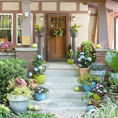 Add color to your entrance with containers packed with flowers