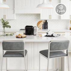 Nathan James Kira 24 Counter Bar Stool Set of 2 Gray Leather Seat Silver Metal Frame Counter Stools With Backs, Metal Counter Stools, Modern Bar Stools, Counter Bar Stools, Swivel Bar Stools, Counter Chair, Modern Kitchen Counters, Kitchen Units, Kitchen Dining