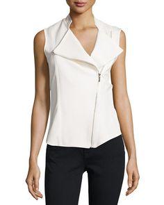 Chiffon-Back Asymmetric-Zip Vest