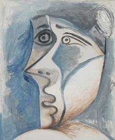 Pablo Picasso (Spanish, 1881-1973), Tête de femme au chignon [Head of a woman with a bun], 8 February 1972. Mixed media on canvas, 72.7 x 59.7 cm.