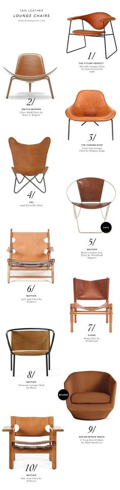BEST: Tan leather lounge chairs Still unsure about the butterfly chair, but the idea of a petite leather side chair is a cool one!Still unsure about the butterfly chair, but the idea of a petite leather side chair is a cool one! Leather Lounge, Tan Leather, Leather Chairs, Leather Sofa, Leather Furniture, Furniture Decor, Furniture Design, Modern Furniture, Recycled Furniture