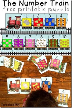 Train Number Puzzles - This free printable puzzle for toddler and preschool kids help kids practice ordering number from and counting animals in each train car. Train Crafts Preschool, Trains Preschool, Transportation Preschool Activities, Transportation Activities, Train Activities, Numbers Preschool, Counting Activities, Free Preschool, Learning Numbers