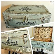 Painted Trunk - Reader Featured Project Vintage Painted Trunk - Reader Featured Project - The Graphics Fairy--for one of my old trunks?Vintage Painted Trunk - Reader Featured Project - The Graphics Fairy--for one of my old trunks? Trunk Redo, Trunk Makeover, Furniture Makeover, Diy Furniture, Furniture Websites, Inexpensive Furniture, Old Trunks, Vintage Trunks, Trunks And Chests