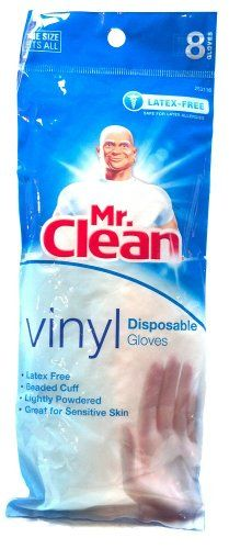 Mr. Clean Vinyl Disposable Gloves one size fits all, pack of 8 gloves, latex free, lightly powdered, with beaded cuffs. #MrClean