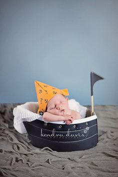 Thought of You Emily! Newborn Baby Orange and Blue Nautical Fabric by hoolovesyoubaby, $13.00