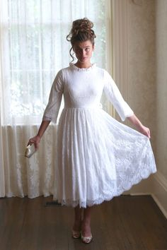 Modest Fashion | Modest Bridesmaid Dresses | White lace Once Upon a Time Dress by Dainty Jewell's