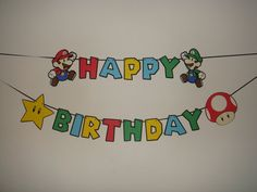 Super Mario Bros happy birthday party banner by TheCutesyShelf, $27.00
