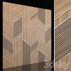 models: Other decorative objects - Wooden panels 02 Wall Panel Design, Wall Decor Design, Floor Design, Ceiling Design, Modern Wall Paneling, Panelling, Wooden Wall Cladding, Hall Interior Design, Accent Wall Designs
