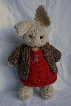 Knitted Bunny Rabbit in Red Dress with Tweed by WestcoastAttic