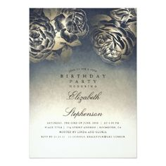 Navy Blue and Gold Foil Vintage Birthday Party Card - foil leaf gift idea special template