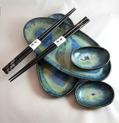 Handmade Pottery 6 Piece Sushi Set Slab built set of two dishes and sauce boats One of a kind Wabi Sabi style Glazed in blues and green Comes with a set of wooden Chopsticks Makes a wonderful gift! Sushi Plate, Sushi Set, Raku Pottery, Ceramics Ideas, Random Acts, Pottery Studio, Pottery Ideas, Handmade Pottery, Wabi Sabi
