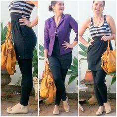 blog v@ LOOKS | por leila diniz: CASAQUETO ROXO + vestido hering metade listrado e metade preto (parece saia e blusa) + DEUS
