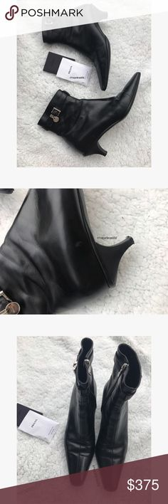 Prada Vitello Lissato Genuine Leather Booties 100% authentic Prada Calzature Donna Vitello Lissato pointed toe genuine leather booties • they come with everything I bought them with (original box, prada care instructions, and extra heel caps) • great preloved condition, please see all photos for reference but only flaws are a small mark on the tip of one boot (pic #3) & a very small exterior scratch (pic #2) • retailed for $495• heel height is 1.75 inches • Size Euro 36• ‼️NO TRADES‼️ Prada…