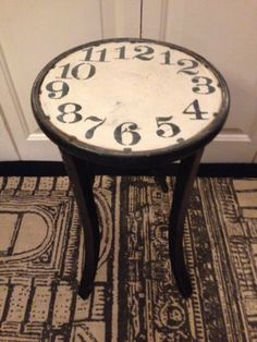 Vintage table french shabby furniture WineTable Clock Face Alice in wonderland