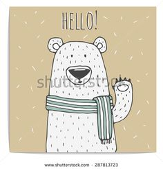 Cute hand drawn illustration of polar bear in scarf with text Hello. Kraft paper - stock vector