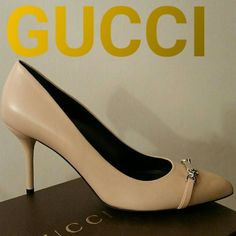 """Authentic GUCCI Molaita Known best for its Italian craftsmanship and elegant style, Gucci is a worldwide legend in designer fashion. With timeless style & iconic appeal, this leather pointy toe pump is the perfect addition to your shoe collection. ?  Leather upper Nameplate hardware with logo detail Pointed toe Fully lined in leather 3?"""" heel Leather sole Made in Italy Gucci  Shoes Heels"""