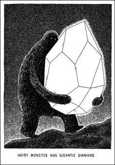 Hairy Monster and Gigantic Diamond / Tom Gauld