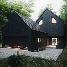 The House in the Woods is designed and visualized by Antony Polyvianyi from Kiev Ukraine - Architecture and Home Decor - Bedroom - Bathroom - Kitchen And Living Room Interior Design Decorating Ideas - Architecture Design, Windows Architecture, Architecture Tumblr, Black House Exterior, Design Exterior, Garage Design, House Goals, House In The Woods, Building A House