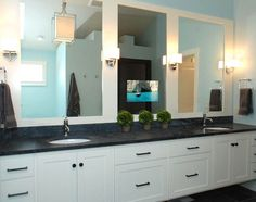 Mirage Audio Visual Service can help you put a screen anywhere. Like this one in a mirror.