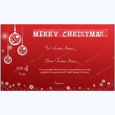 Gift Voucher Template Word Elegant Christmas Ornaments And Snowflakes Gift Template  Merry .