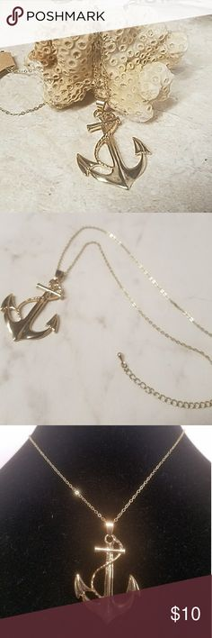 "Gold Anchor Pendant Necklace Set sail with this adorable anchor pendant necklace. 15"" Gold chain with a 3"" extender chain & lobster clasp closure. Item#N1116 Jesi's Fashionz Jewelry Necklaces"