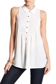 Embroidered Yoke Tank by Casual Studio on @nordstrom_rack