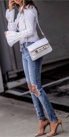 #summer #outfits Blue Blouse + Destroyed Skinny Jeans