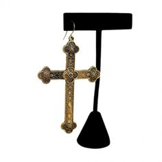 Antique Gold Gothic Cross- Single Earring. #earrings #style #jewelry 9thelm.com