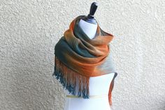 Hand woven long scarf gradient color teal beige gray orange long with fringe  Hand woven long scarf with gradually ... #kgthreads #etsytools