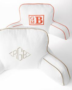 Love this monogrammed backrest! // Horchow.com- #Monograms #MonogrammedBedding