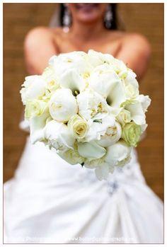 Bridal Bouquet: White and Cream Bouquet of White Mini Calla Lilies,White Peonies,Vendella Roses and Cream Garden Roses